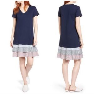 Halogen Navy Multi Stripe Ruffle Hem Knit Dress